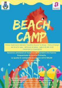Locandina di presentazione colonia estiva marina Beach Camp 2021